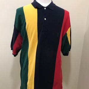 Vintage Nautica Multi Color Striped Polo Shirt XL